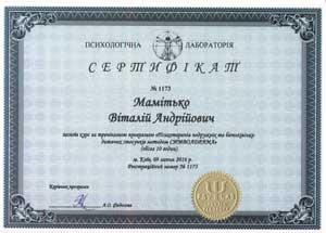 Сертификат Символдрама Психотерапия супружеских и детско-родительских отношений Мамитько Виталий Андреевич